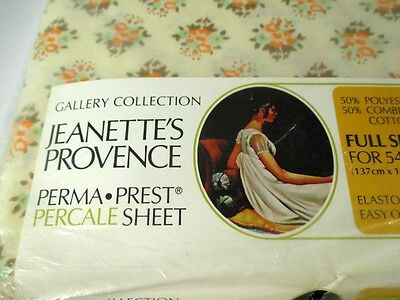 Jeanettes Provence Percale Double Full Sheet Set Sears Vintage Frilly Ruffles