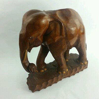 Antique Chinese Teak Wood Hand Carved Elephant Statue