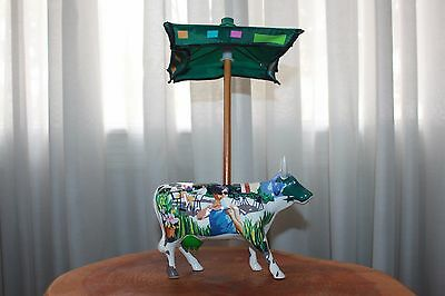 2002 Cow Parade #7308 - It's A Cowpuccino Morning With Umbrella (Retired)