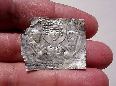 Byzantine silver leaf with image of Saint Michael, was a part of decoration