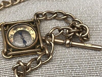 9ct Gold Antique Pocket Watch Albert Chain Compass Fob T Bar Stamped Links 37g