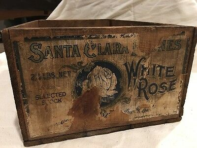 Vintage Wood Advertising Crate White Rose Santa Clara Prunes with paper label