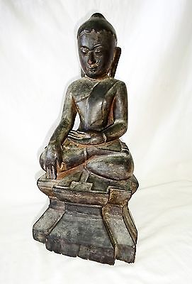 19C Burmese Shan State Bhumisparsha Seated Buddha w. Traces of Gilt (Drc)