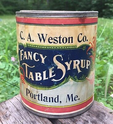 RARE Vintage C.A. Weston Co. Portland Maine FANCY TABLE SYRUP Can