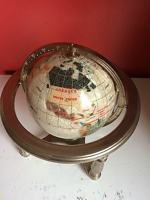 "Medium 10"" White Gemstone Semi Precious Stones Globe On Stand With Compass"