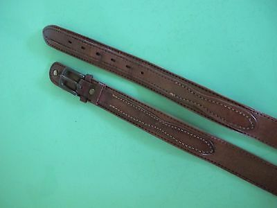 BELT Tan Brown Genuine LEATHER Double front or Ranger Brass buckle Sz 34 Unisex