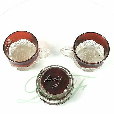 1926 Flashed Glass Souvenirs 3 Pieces, Ruby Cranberry