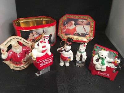 Box Lot of (5) Coca-Cola Christmas Ornaments in Coke Tin