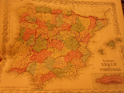 1855 Colton's Map Of Spain & Portugal - Colored! - By Johnson & Browning Nice!