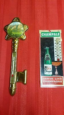 """Vintage """" 2 THERMOMETERS """" ONE, SOUVINIR OF BOULDER COLO. One CHAMPALE"""