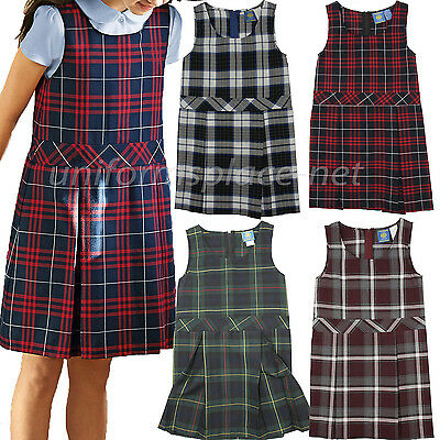 Girls Plaid Uniform Jumper JB PLeated Girl Jumpers Plaid Dress School Uniforms
