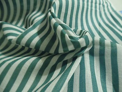 """VINTAGE COTTON LAWN~SMALL GREEN/WHITE STRIPES~40""""wide~DOLL DRESS FABRIC~18""""x40"""""""