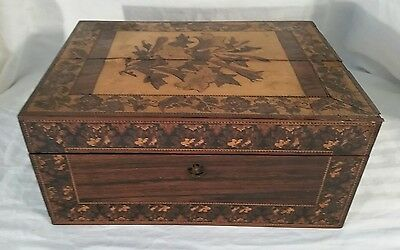 Antique Wooden Sewing Box With Tray Inlay satin paper lined