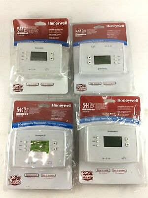 Lot of 4 Honeywell 5-1-1 Day Programmable Thermostat with Backlight RTH2410B