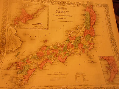 1855 Colton's Map Of Japan -Big! Hand-Colored! - By Johnson & Browning Nice!