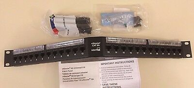 Lot Of 5 Leviton 6A587-Un4 1Ru 24-Port Cat6A 110-Style Angled Patch Panel, Cat6A