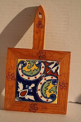 Dal Tile Ceramic And Wood Wall Hanging Trivet Hot Plate Mexico