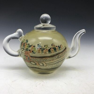 China's rare pure manual painting of figures glass teapot