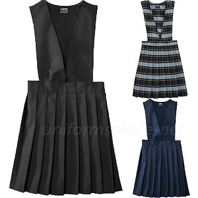 Girls Uniforms Jumper French Toast V-Neck Pleasted School Uniforms Jumper Dress