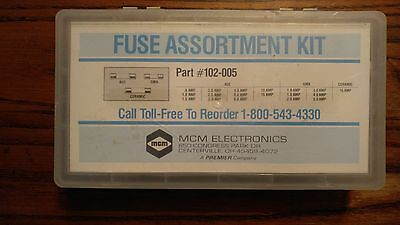 MCM 102-005 AGC/GMA/CERAMIC FUSE KIT in  a divider storage box INCOMPLETE