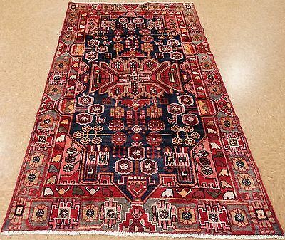 PERSIAN MALAYER Tribal Hand Knotted Wool NAVY BLUE RED Oriental Area Rug 4 x 8