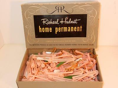 ANTIQUE VINTAGE 40s RICHARD HUDNUT HOME PERMANENT CELLULOID CURLING RODS IN BOX