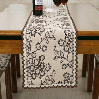 100% cotton handmade white flower coffee lace table runner 78 inch approx