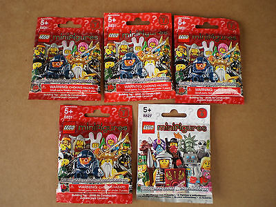 NEW Sealed Lot of (4) Series 7 & (1) Series 6 Lego Minifigures Blind Bags
