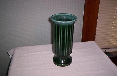 Hull USA green drip type column vase  A57