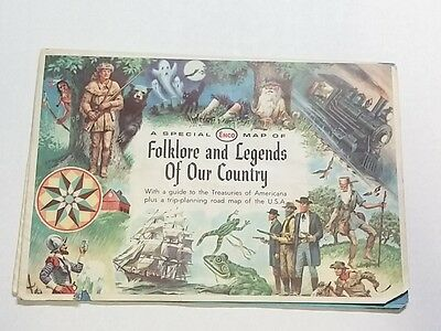 Vtg 1960 ENCO Map Folklore Legends USA Touring Driving Humble Oil Art by Soltesz