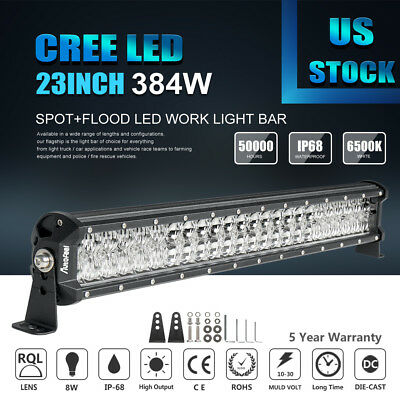 """23Inch 384W LENS LED Work Light Bar Spot Flood For Offroad JEEP Driving Lamp 24"""""""