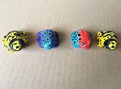 Lot of 4 colorful toads frogs toys figurines