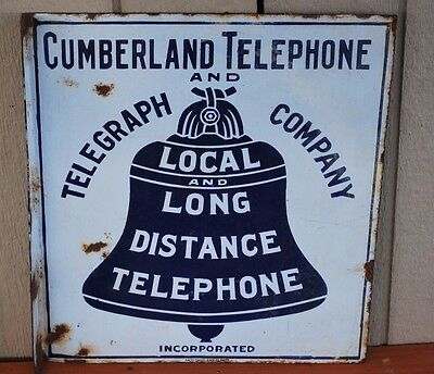 Balto Enamel Cumberland Telephone Telegraph Porcelain Double Sided Flange Sign