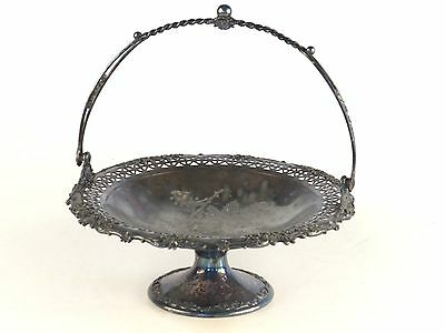Antique Reed and Barton Silverplate Pedestal Bridal Basket Bowl Pierced Wedding
