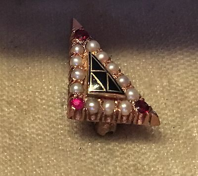 Acacia Fraternity Pin - Gold, pearls, rubies - Very nice