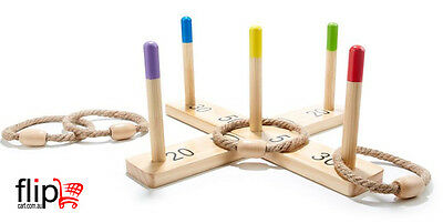 Rope Hoop Wooden Quoits Fun Ring Toss Game Toy Pegs Hoopla Activity Toys Ringer