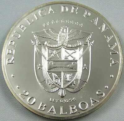 1971 Panama 20 Balboas Km# 29  Nearly 4 oz's of Silver!   Mintage - 69,000  BU