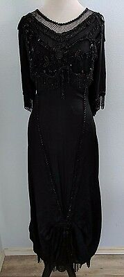 Vintage VTG 1920s Black Glass Hand Beaded Edwardian Evening Dress Deco Wearable