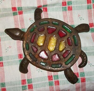 VTG Cast Iron TURTLE Kitchen Trivet w/ Stained Glass Color Inserts Old Rustic