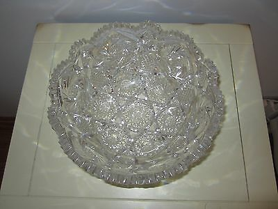 American Brilliant Cut Crystal Bowl Antique Prism Home Decor Collectible