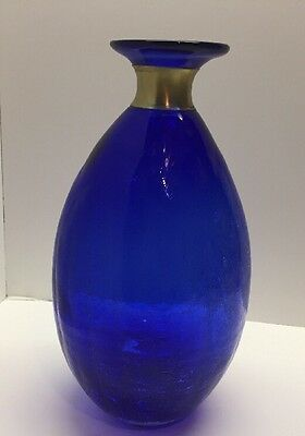 Large Vintage Cobalt Blue Glass Vase with Gold Ring On Top; POPS!!!