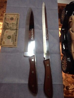 2 Vintage Emperor Steel Stainless Full Tang Chef & Carving Knife Household Japan