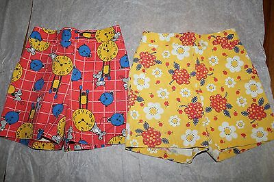 3 Pairs of 1970s Girls' Shorts Red Yellow Blue Strawberry Flower Mice Print