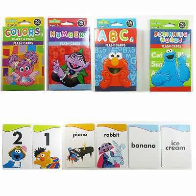 4 Sesame Street Flash Cards Shapes & More, ABCs, Beginning Words, and Numbers