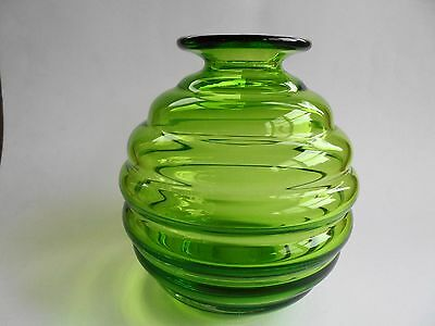 Retro English Green Art Glass Beehive Vase Whitefriars Or Dartington