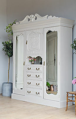 Antique Victorian Triple Wardrobe Compactum Drawers Painted in Farrow & Ball