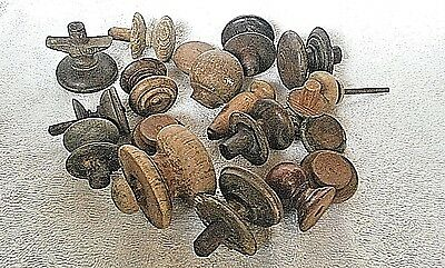 Job lot of Vintage wooden cupboard knobs drawer door antique pulls restoration