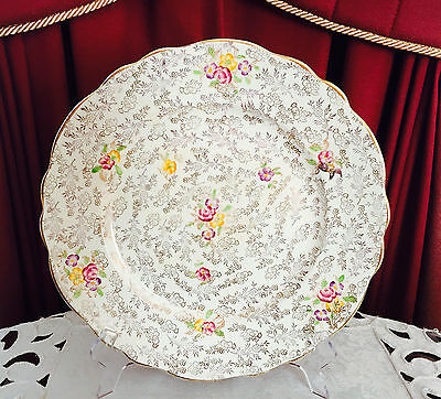 Vintage James Kent England 'pearl Delight' Gold Chintz Dinner Plate C1930's