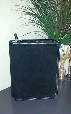 FRANKLIN COVEY 6 ring black cowsuede leather day planner agenda organizer