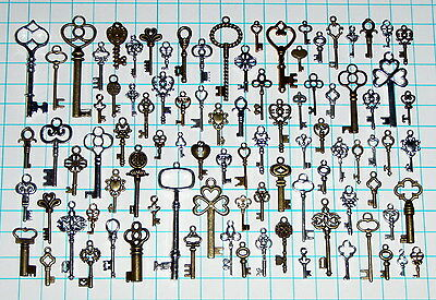 93 Antique Vtg old look Ornate Skeleton Key Lot Pendant Fancy Heart Bow Favors
